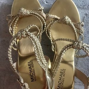 Michael Kors rope and gold ankle strap wedge